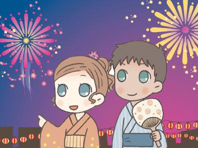 花火を楽しむカップル